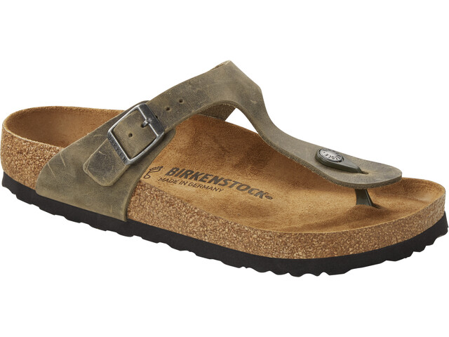Birkenstock Gizeh Thong Sandals Oiled Leather Narrow faded khaki